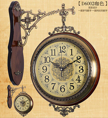 Outdoor Station Antique Wall Clock Garden Hallway Double Sided Wall Mount Clock