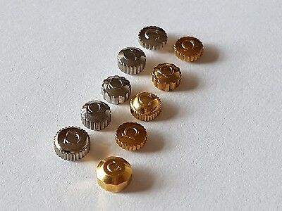 Genuine Omega Crowns (x10) Stainless Steel/Gilt Selection