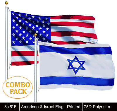 Wholesale LOT of 3' X 5' USA AMERICAN &  3' x 5' ft Polyester Israel Flag