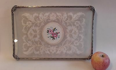 Antique Vintage  Petit Point / Ormolu Dressing Table Tray ~ Roses