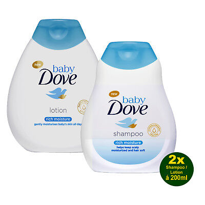 Baby DOVE Rich Moisture Shampoo & Lotion 2x 200ml - hypoallergen und pH-neutral