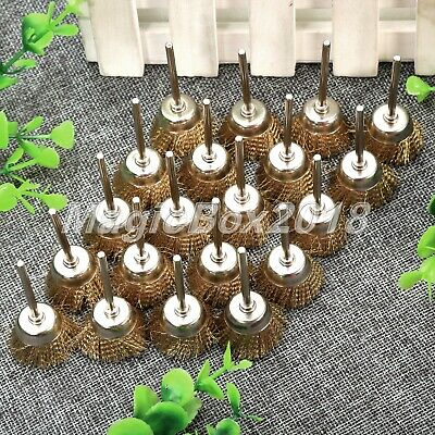 10Pc Cup Shape Brass Wire Brushes Cleaning Polishing Kit Die Grinder Rotary Tool