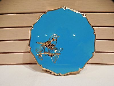 Vintage Stratton Powder Compact--Turquoise Enamel--Queen Size-Gold Etched Bird