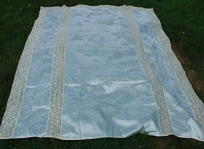 Vintage Satin Sheet Wide French Lace Trim Light Blue with Bow Print