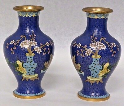 """Pair of Vintage 8"""" Chinese Cloisonne Cobalt Blue Vases Cherry Blossoms Bamboo"""