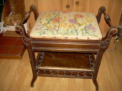 Galleried piano stool, original tapestry covered lid top, Edwardian.