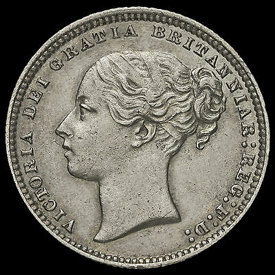 1874 Queen Victoria Young Head Silver Shilling