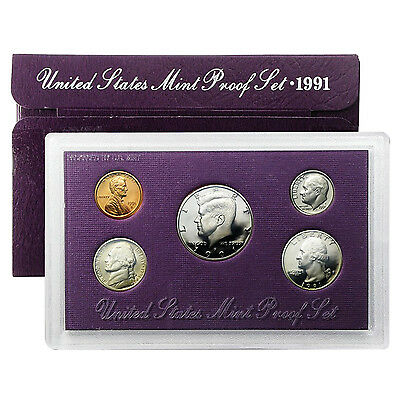 1991 S , Us Mint Proof Set - With Box & Coa , 5 Coins!