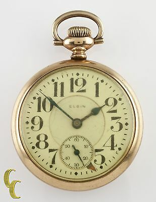 "Elgin Gold Filled ""Father Time"" Open Face Pocket Watch Gr 454 12 J 16S 1920"