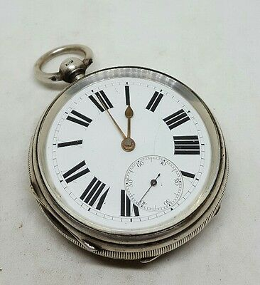 Big Antique solid silver fusee Chester pocket watch 1885 working
