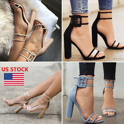 Women High Heel Strap Ankle Block Sandals Open Toe Party Dress Sandal Pumps Shoe