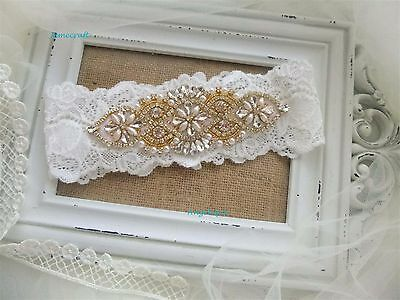 Ivory Pale Gold Wedding Garter Stretch Lace Vintage Crystal Luxury  Bridalgift