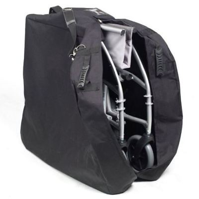 Wheelchair storage travel bag with shoulder strap and footrest pocket