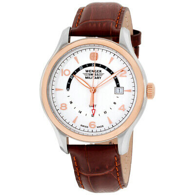 Wenger Swiss Military Silver Dial Leather Strap Men's Watch 79306C