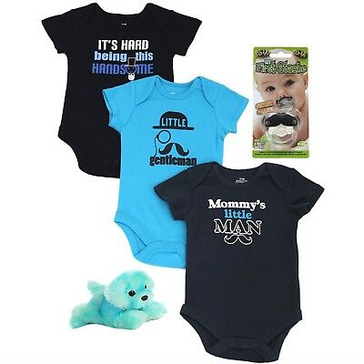 Baby Boy 3 Pack Bodysuit Set with Mustache Pacifier and Flopsie Blue Dog Bundle