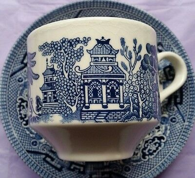Vintage Willow Pattern Coffee Cups & Saucers - Set Of Four