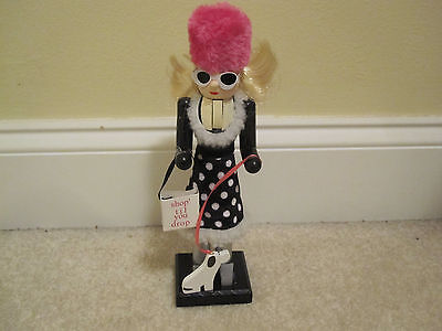 Wooden Nutcracker Shopper with dog hat shop til you drop new with tags 10 inches