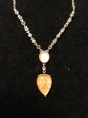 Necklace Pendant Heart Rhinestone Gold Tone Chain Jeweled Statement Fashion