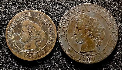 FRANCE 5 & 10 Centimes 1880-A - Lot of 2 Scarce Bronze Coins  (#897)