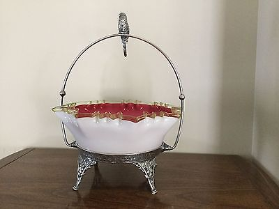 Victorian cased glass rose bride basket, Wm. Rogers, with bird finial, lovely!