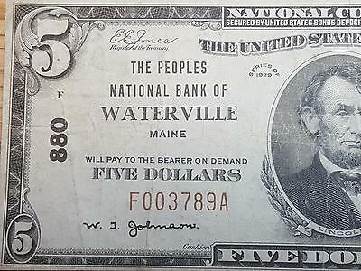 Series 1929 $5 National Banknote Waterville, ME Charter #880 RARE