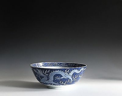 A Large Chinese Antique Porcelain Blue & White Dragon Bowl