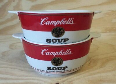 HTF EUC Set of (2) Campbell's Soup 2009 Advertising Bowls w/ Side Handles 14 oz.