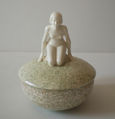 Art Deco Nude Female Covered Bowl Candy Dish White Green Speckled Vintage 1920s