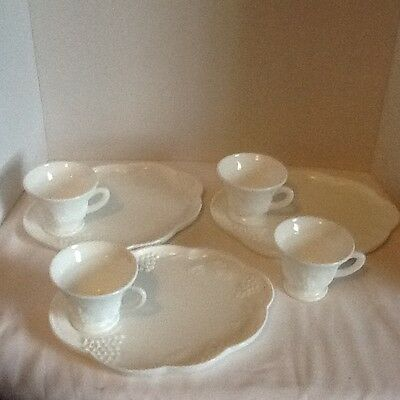 Vintage Indiana Colony Harvest White Milk Glass Snack Set 7 Pc Cups Plates