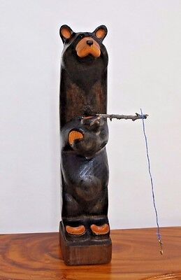 "Vintage Big Sky Carvers  Hand-Carved Black Bear Fishing Sculpture  26"" Tall"
