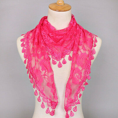 Collar Neck Scarves Lace Scarf Dress Accessories Shawls Rose Floral Hollow