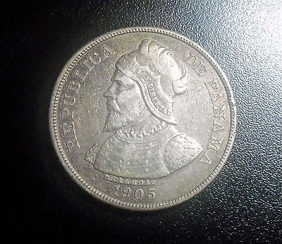 Panama 50 Centesimos, 1905 Large Crown Size Coin