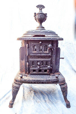 Antique Victorian Perry Co Wood Burning Stove Cast Iron Parlor Garden Decor 1888