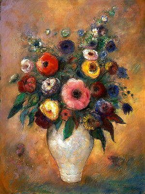 Art Deco Canvas Print Vase of Flowers Oil painting HD Printed on canvas L1447