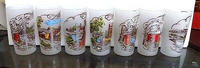 7 Currier & Ives Glasses, Frosted Glass, Gay Fad, Currier  Ives Scenes