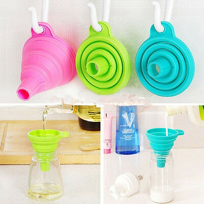 New Home Kitchen Mini Silicone Gel Foldable Collapsible Style Funnel Hopper Tool