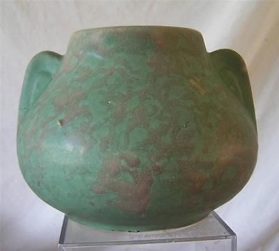 McCoy Stoneware Double Eared Vase Green Matte Molted Glaze 1930-40