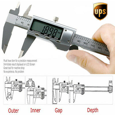 """6"""" 150mm Stainless Steel Digital Vernier Electronic Caliper Micrometer Guage LCD"""