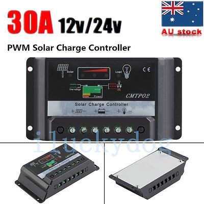 10A/20A/30A 12V/24V PWM Solar Panel Battery Regulator Charge Controller DX OA