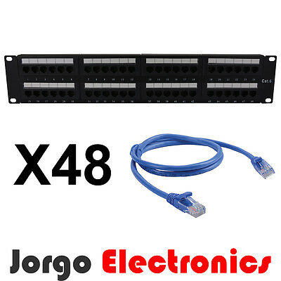 """19"""" 2RU CAT6 48 Port Patch Panel and 48 Patch Cables 1.0m"""