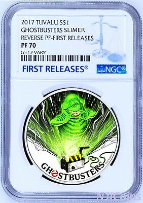 2017 Ghostbusters Slimer 1oz Silver $1 Coin NGC REVERSE PF70 FIRST Releases