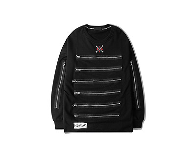 Multiple Zippers Ulzzang Hip hop Skateboard New High Street Sweatshirt