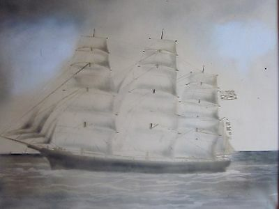 Ship Art Nautical Antique Maritime 1800s Old Frame 19 x 16