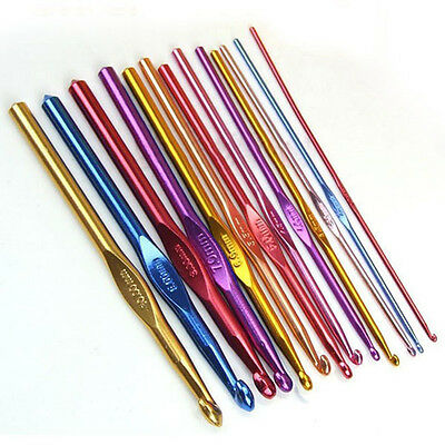 MULTI COLOURED ALUMINIUM CROCHET HOOKS HANDLE KNITTING NEEDLES 2.0mm-10.0mm