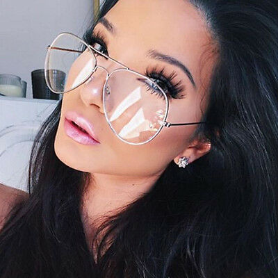 Clear Lens Aviator Glasses Fashion Pilot Metal Frame Gold Silver Sunglasses New