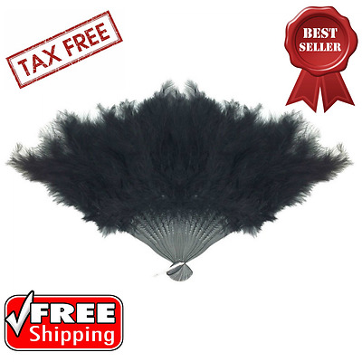 Foldable Hand Fan Feathered Black Accents Halloween Costume Party Accessories