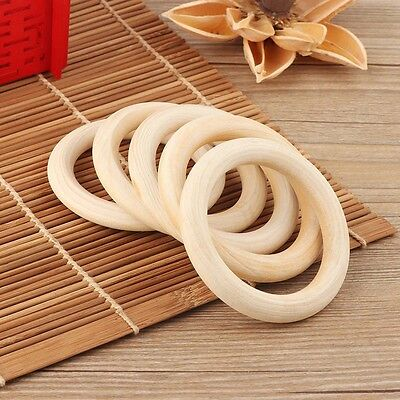 5pcs 70mm Baby Wooden Teething Rings Necklace Bracelet DIY Crafts Natural