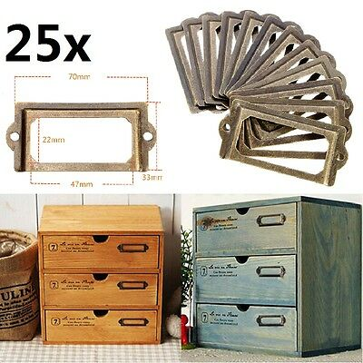 25X Brass Drawer Cabinet Label Pull Frame Handle File Name Card Holder 40 Screws