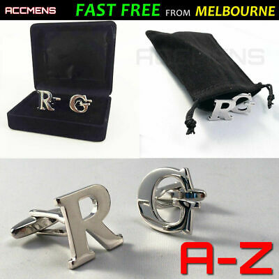 Mens Cufflinks Gift Box Free Pouch 1pr DIY Silver Initials Letters Wedding Party