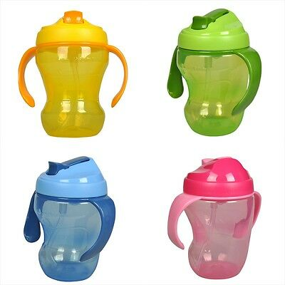 Baby Kid Feeding Drinking Water Handle Bottle Cup Sippy Learning Plastic Kettle
